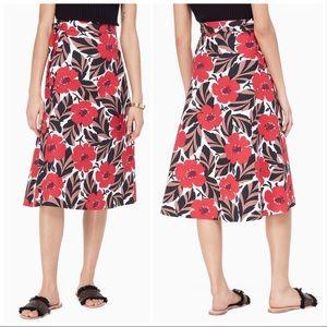 Kate Spade poppy field wrap skirt in Lingonberry